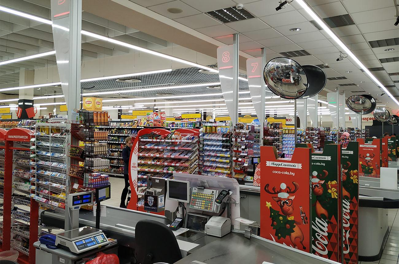 Продтовары закупили светодиодные светильники для супермаркетов ledz e-Trade. Экономят 75% затрат на электроэнергию. Служат более 20 лет. Стильно выглядят. Хотите такие светильники? Звоните нам!