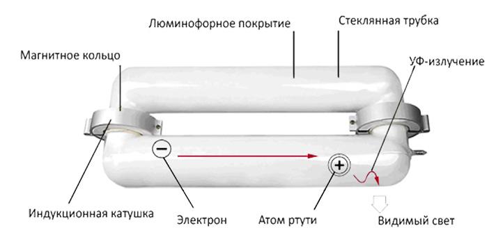 Конструкция и принцип работы индукционной лампы